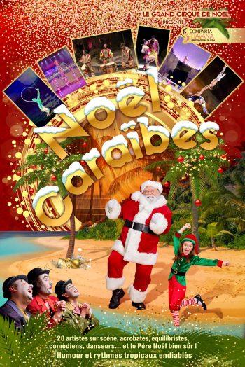 Affiche Noël aux Caraïbes spectacle affiche Antarès Le Mans